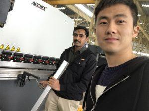 અમારી ફેક્ટરીમાં અલજીર્યા ક્લાયંટ પરીક્ષણ પ્રેસ બ્રેક મશીન